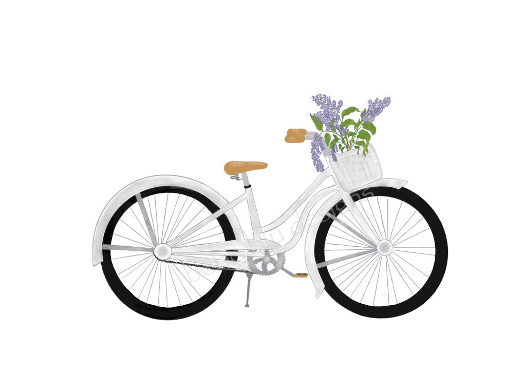 BICYCLE with lilacs whitewashed