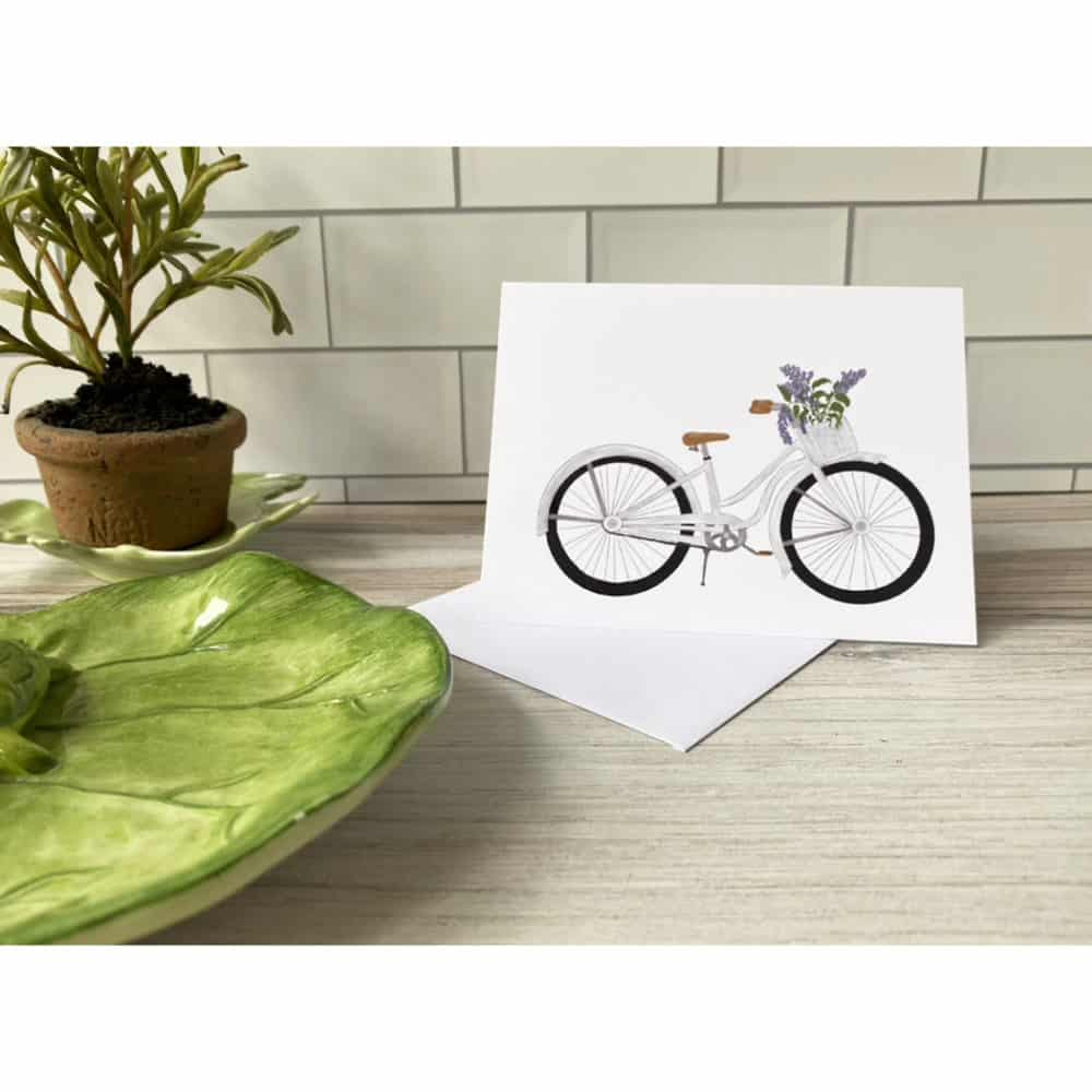 bicycle with lilacs card
