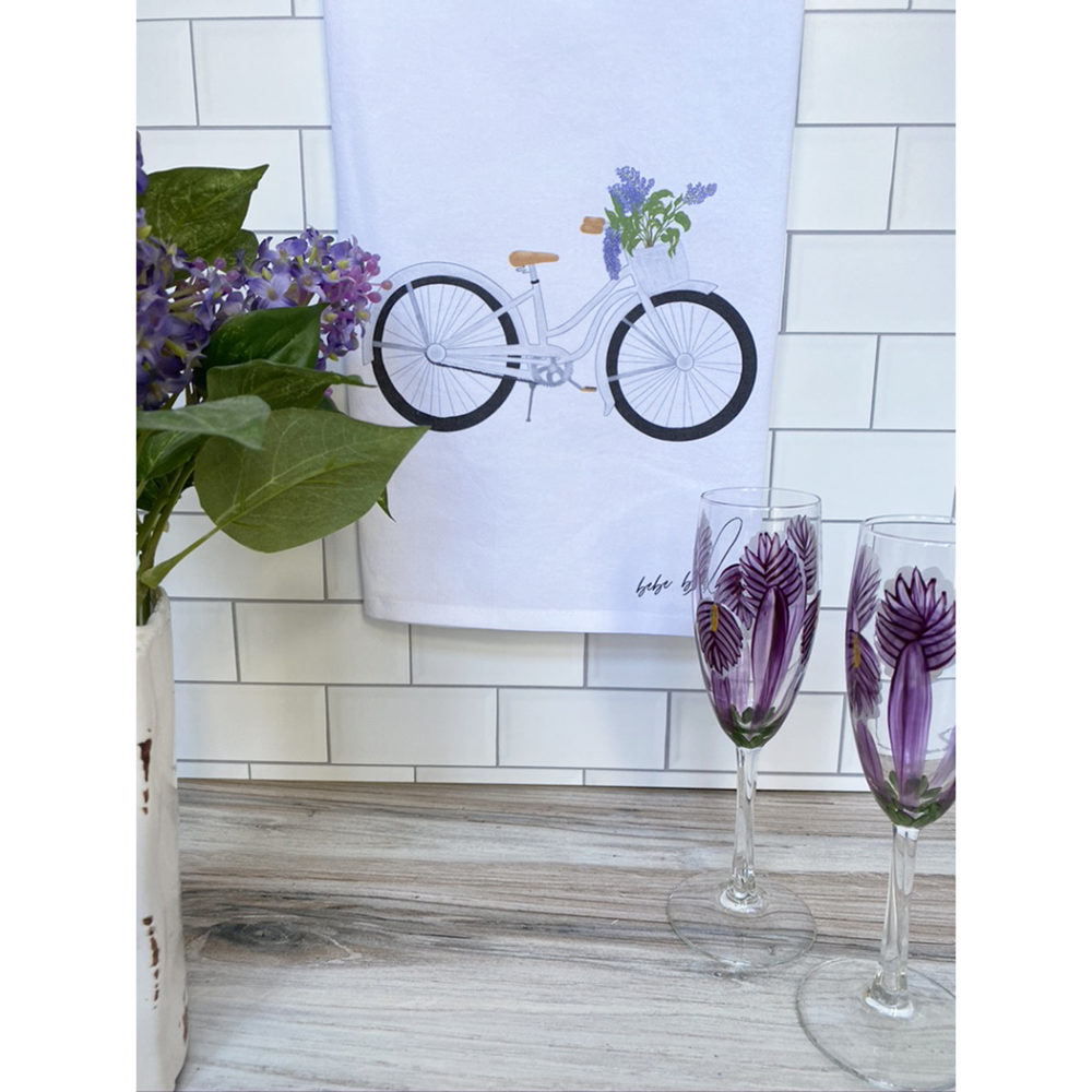 bicycle with lilacs towel