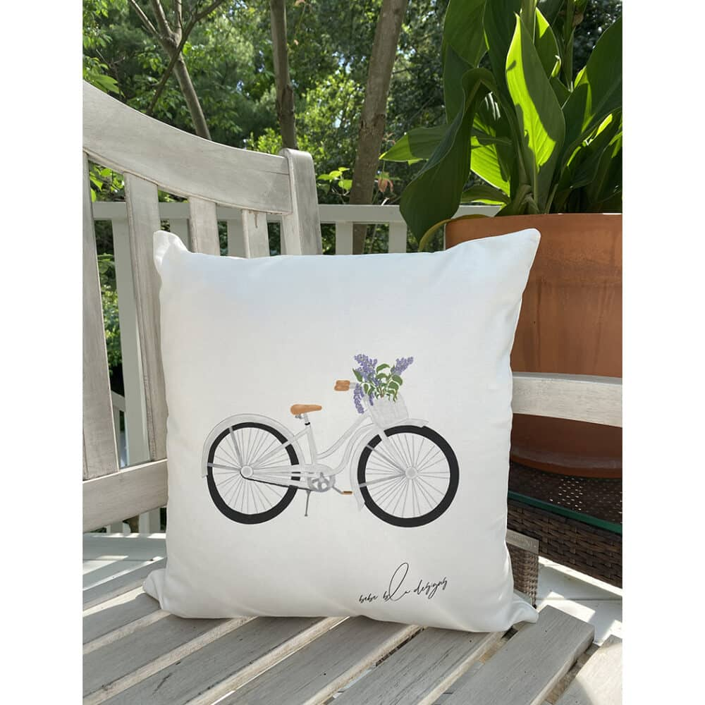 bike with lilac pillow