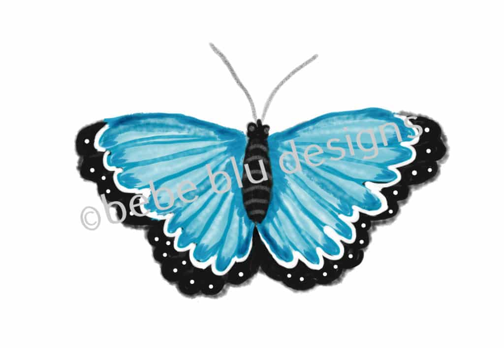 bebeblue designs: blue butterfly artwork