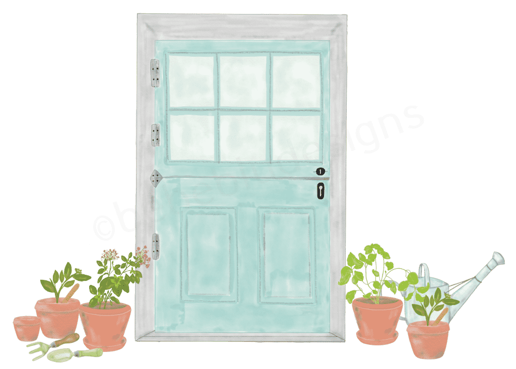 farm door with garden