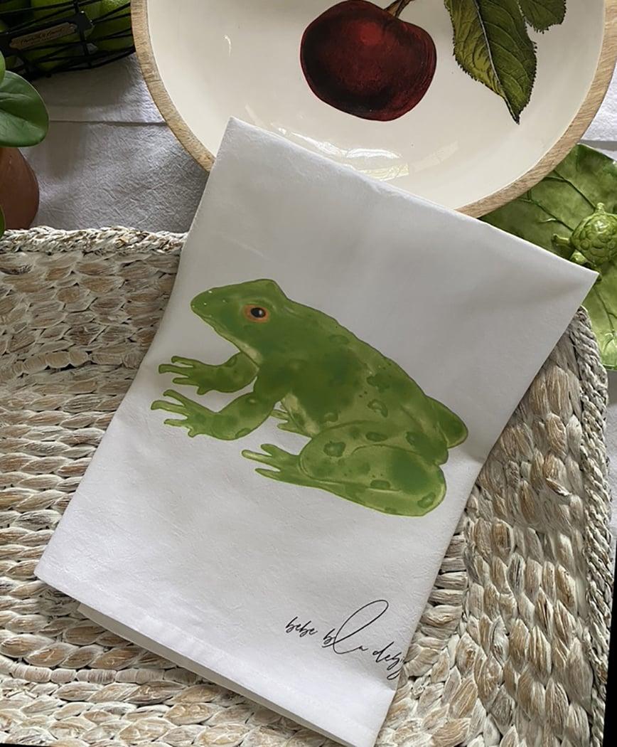 frog towel in basket