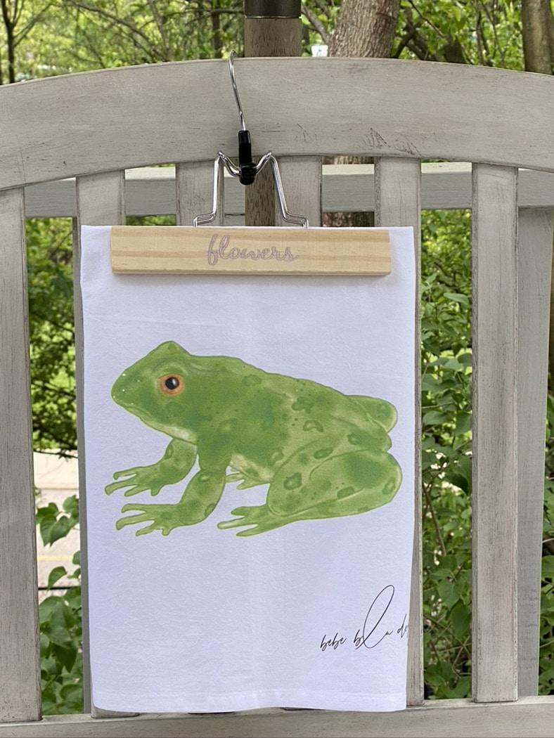 frog towel outside
