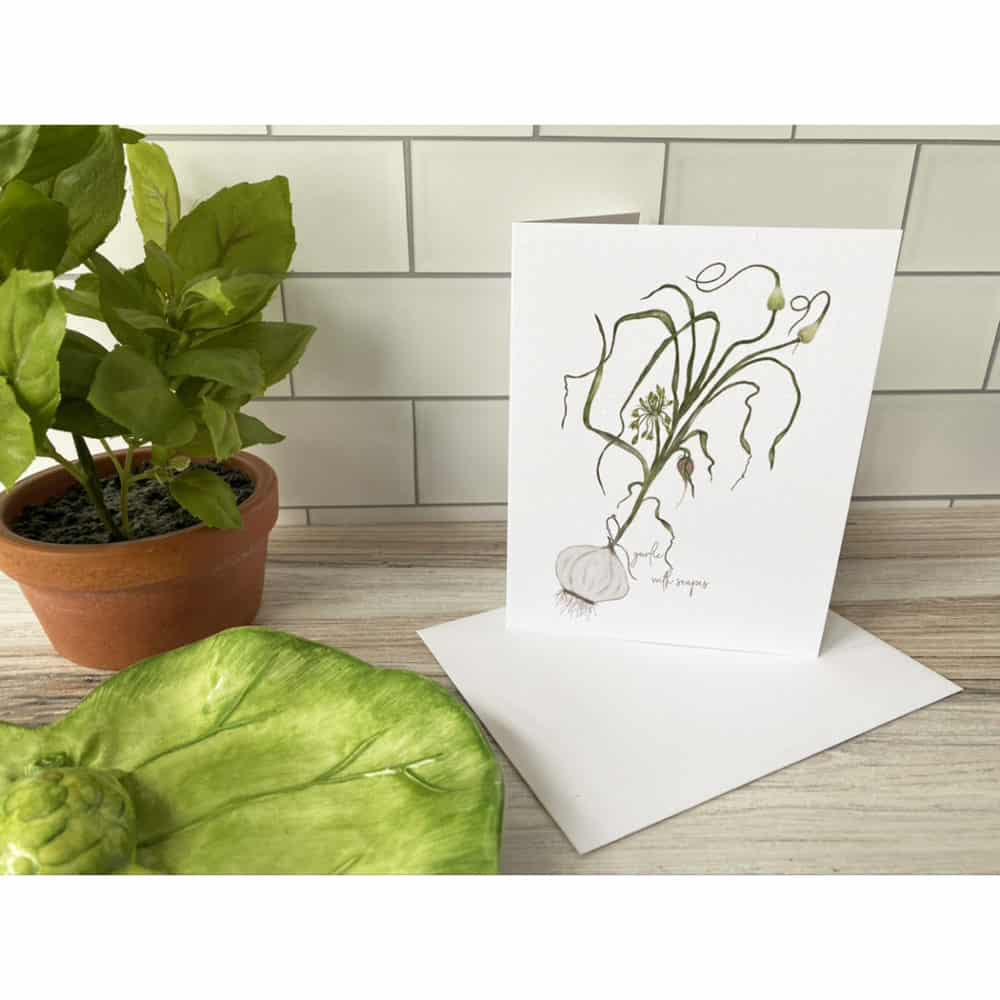 garlic with scapes card
