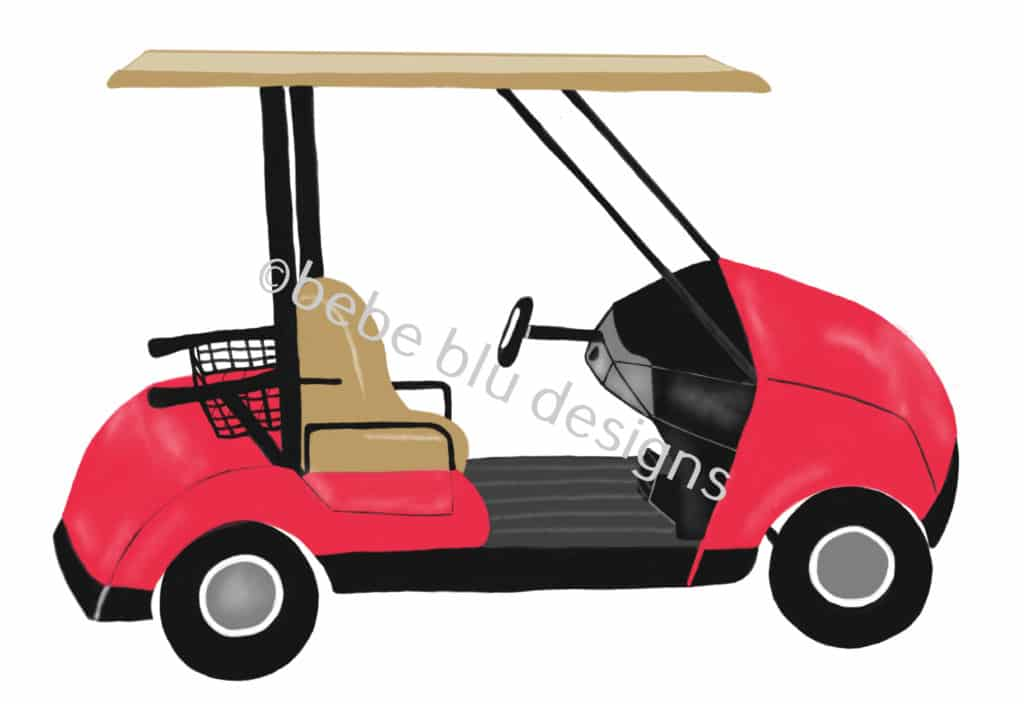 bebeblue designs: red golf cart artwork