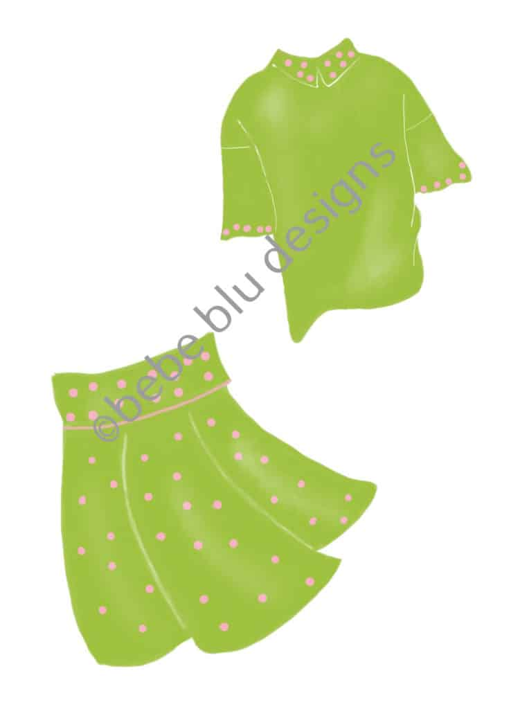 bebeblue designs: pink green golf outfit artwork
