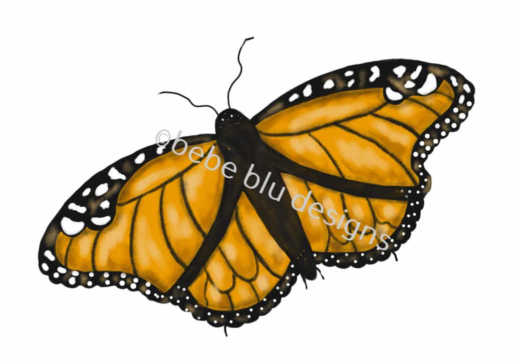 bebeblue designs: monarch butterfly artwork