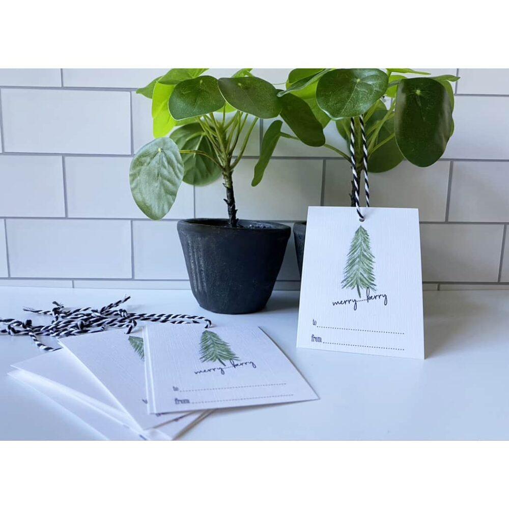pine tree holiday gift tags web
