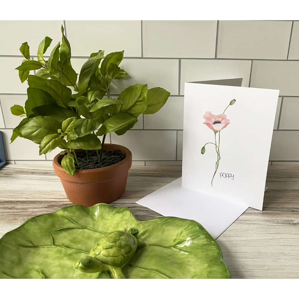 pink poppy note card