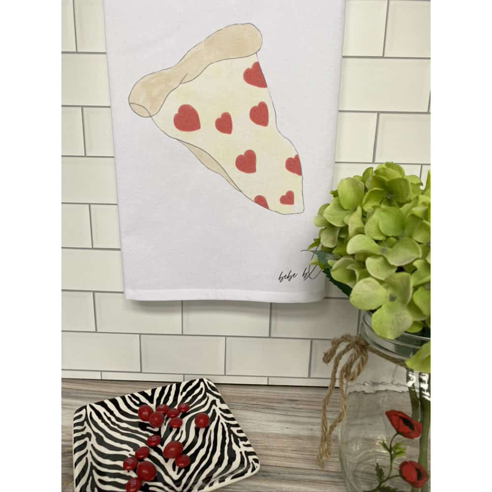 pizza hearts towel