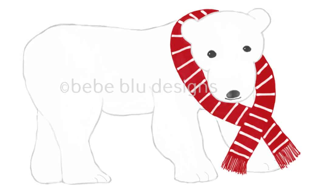 bebeblue designs: polar bear red scarf artwork