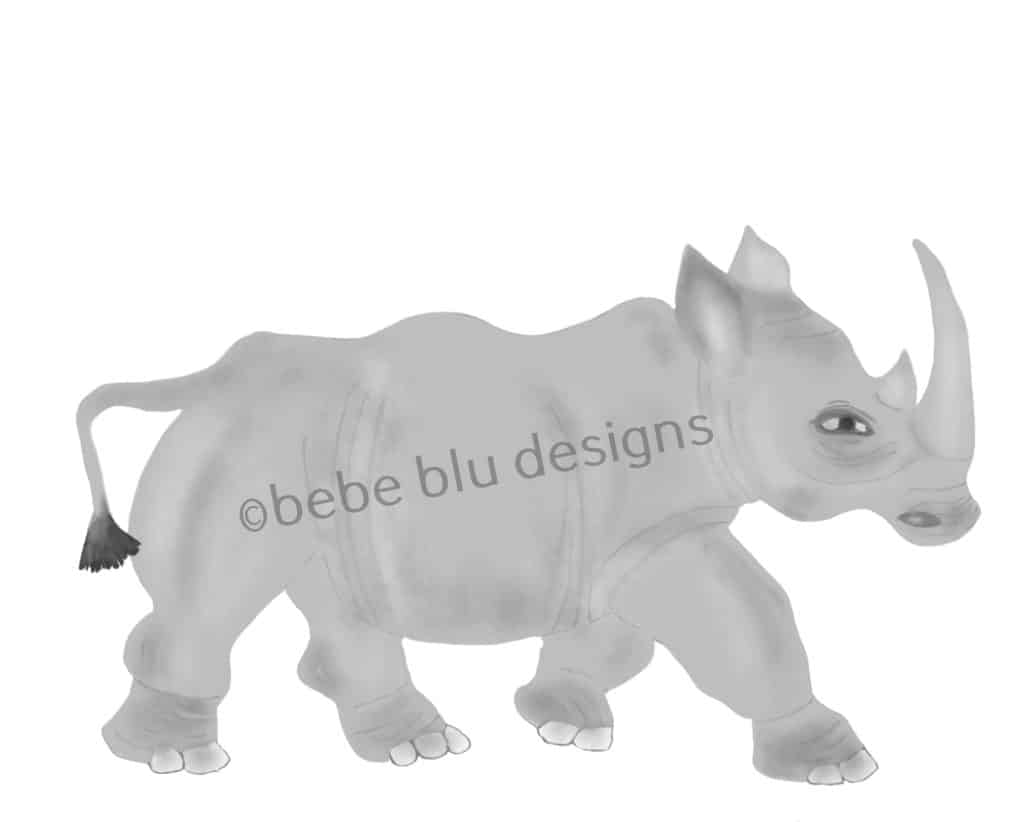 bebeblue designs: rhinoceros artwork