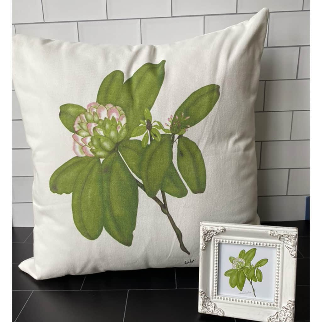 rhododendron tile pillow