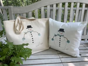 snowman tote and pillow