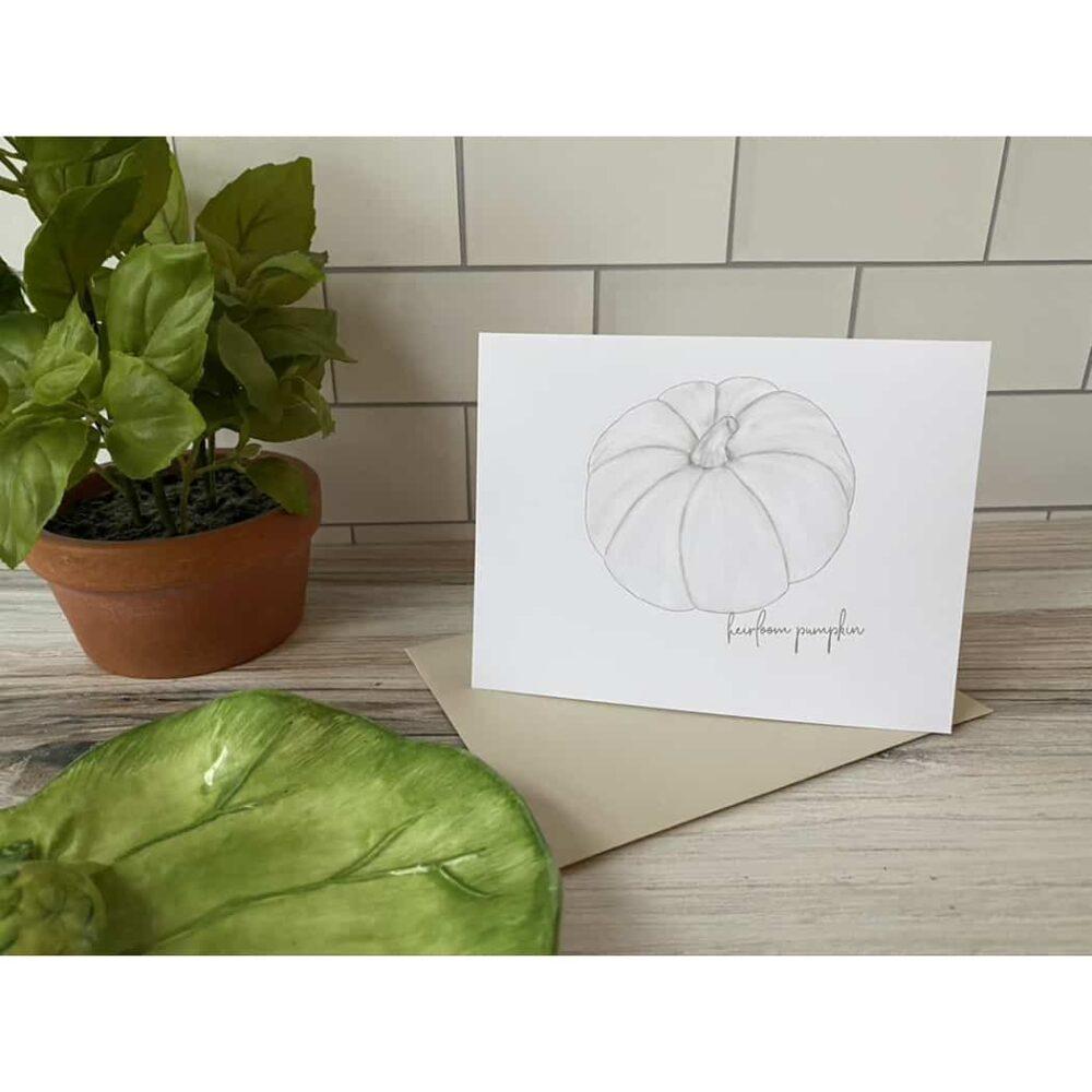 white pumpkin card