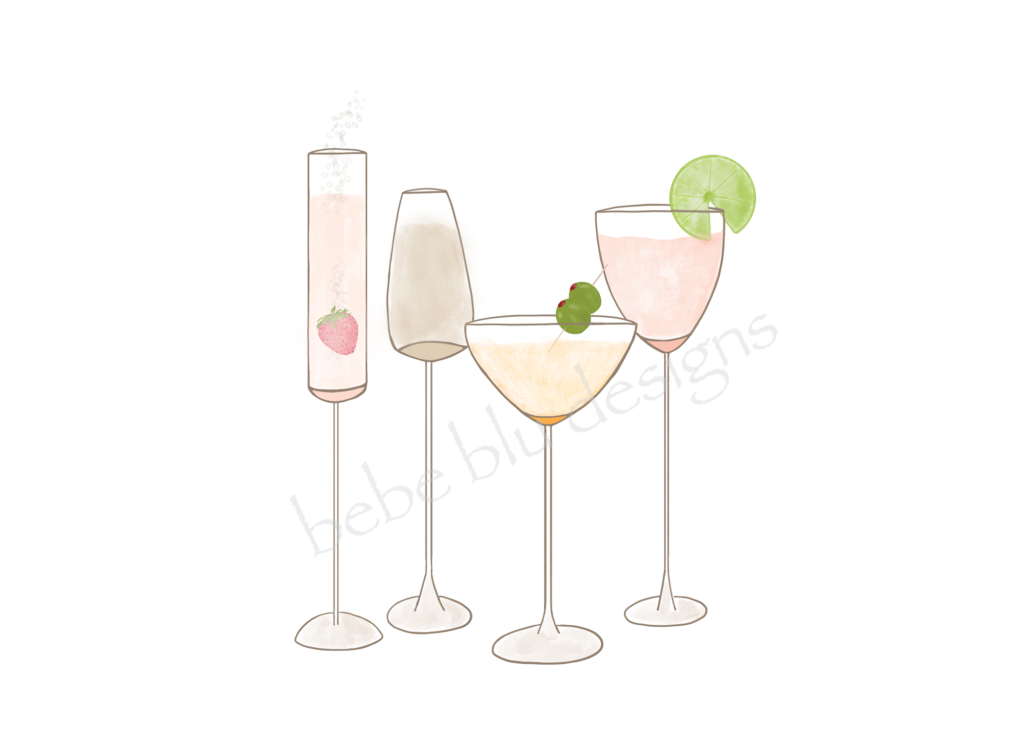 wine glasses USEstrawberry lime olive
